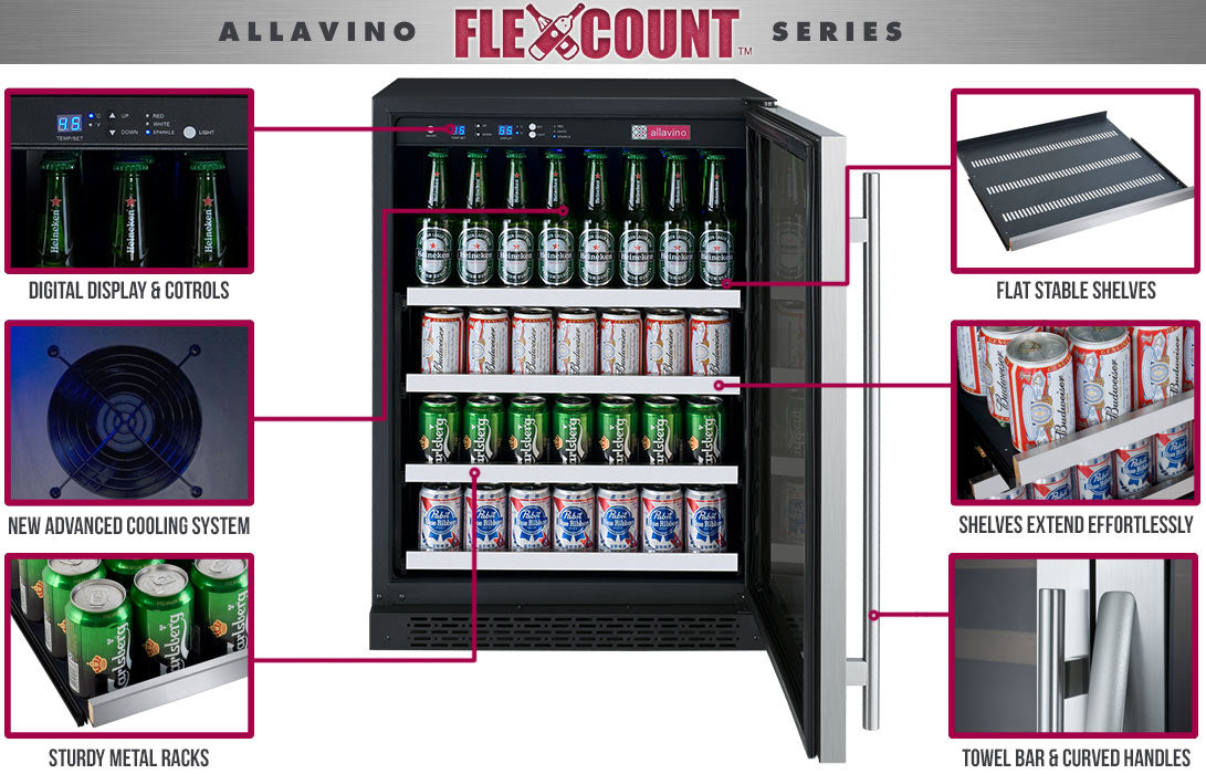 "Allavino FlexCount 24"" Wide Stainless Door Right Hinge Beverage Center VSBC24-SSRN"