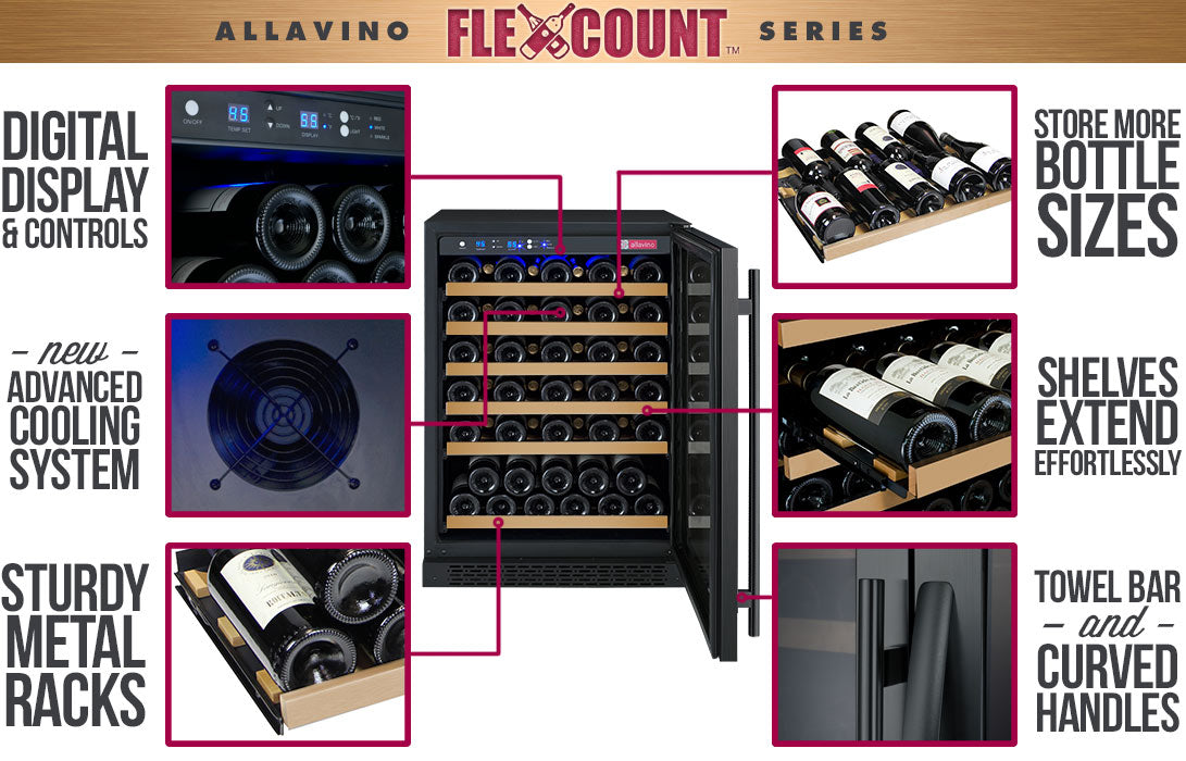 Allavino FlexCount 56 Bottle Single Zone Black Left Hinge Wine Fridge VSWR56-1BWLN