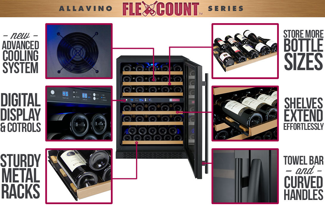 Allavino FlexCount 56 Bottle Dual Zone Black Right Hinge Wine Fridge VSWR56-2BWRN