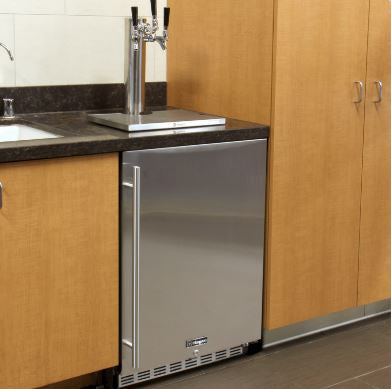 """Kegco  24"""" Wide Dual Tap All Stainless Steel Outdoor Built-In Right Hinge with Kit Kegerator HK38SSU-2"""
