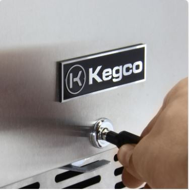 "Kegco 24"" Wide Dual Tap Stainless Steel Built-In Left Hinge with Kit Kegerator HK38BSU-L-2"