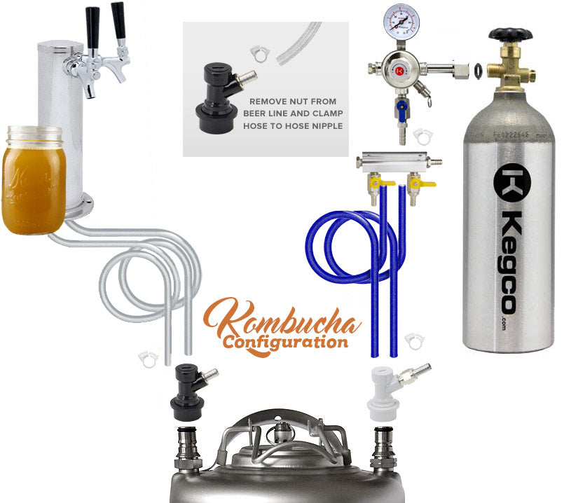 "Kegco 24"" Wide Kombucha Four Tap All Stainless Steel Kegerator KOMC1S-4"