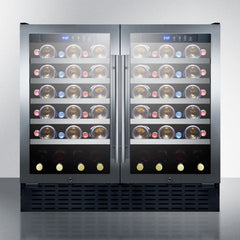 "Summit 36"" Wide Dual Zone Stainless Steel Built-In ADA Wine Refrigerator SWC3668ADA"