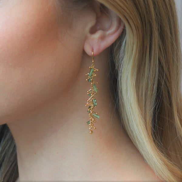 Delicate Feather Earrings: Gold & Tourmelines