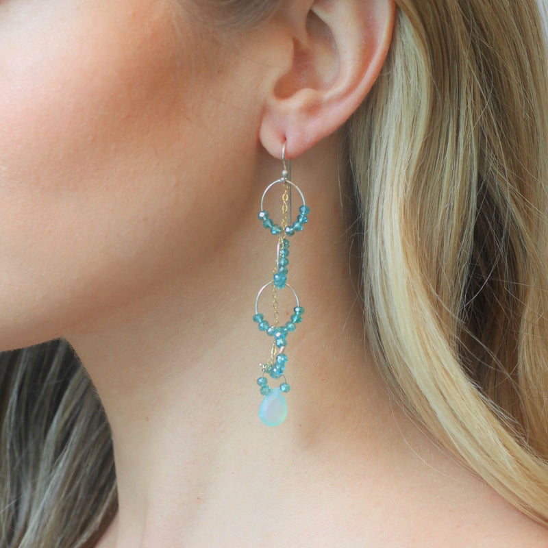 OXOXO Earrings: Blue Chalcedony