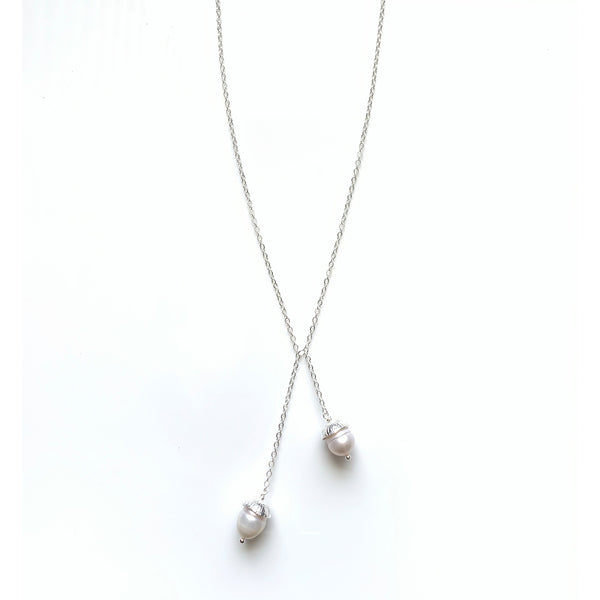 Acorn Double Necklace: Silver