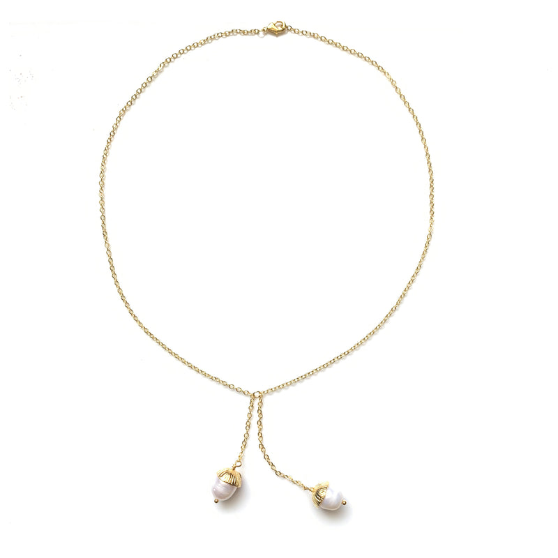 Acorn Double Necklace: Gold