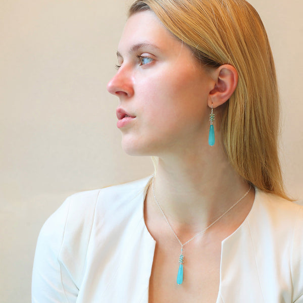 Alexis Teardrop Necklace: Aqua