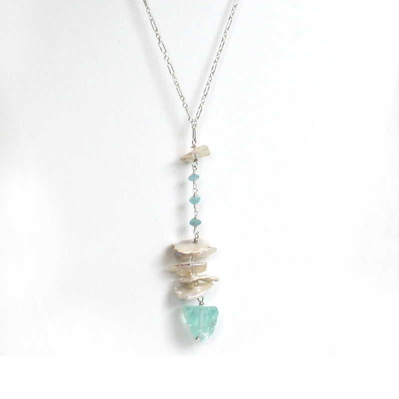 Aquamarine Quartz & Petal Pearl Necklace