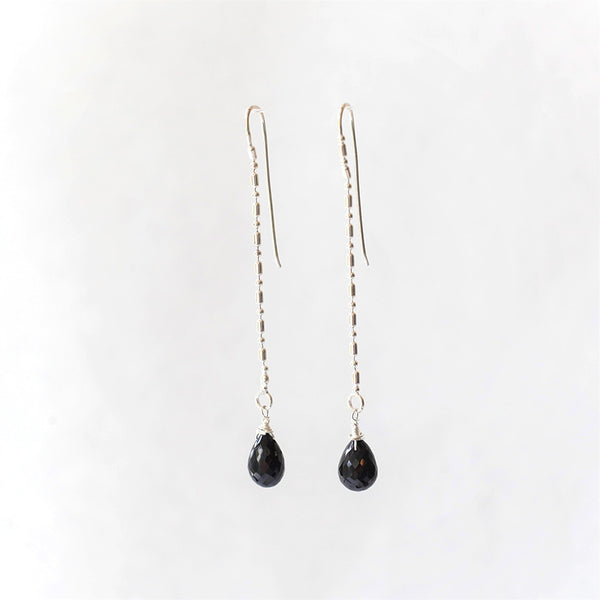 Black Spinel Teardrop Earrings