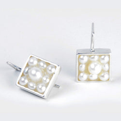 Caviar Earrings: White Pearl
