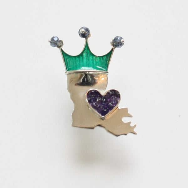 Crowned LA State Boot Pin: Gold