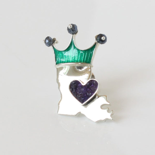 Crowned LA State Boot Pin: Silver