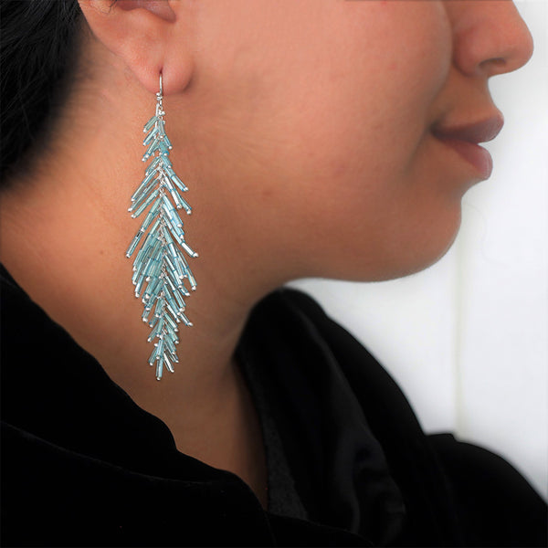 Feather Duster Earrings: Azul
