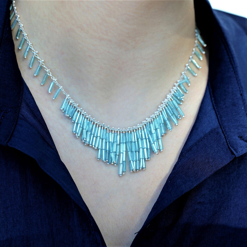 Deco Feather Necklace: Azul