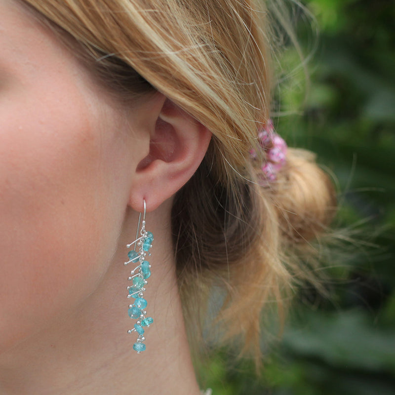 Delicate Feather Earrings in Silver: Apatite