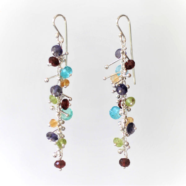 Delicate Feather Earrings in Silver: Multi-Gem