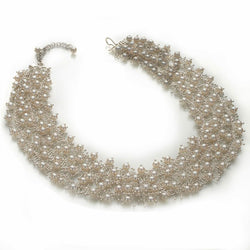 Delicate Feather Triple Necklace in Silver: Pearls
