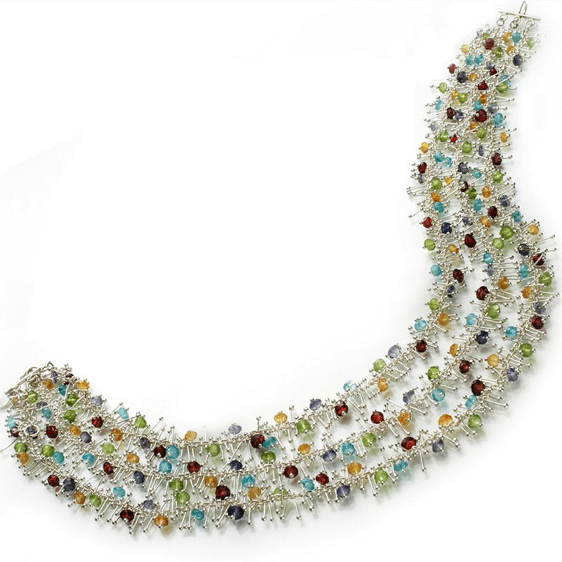 Delicate Feather Triple Necklace in Silver: Multi-Gem