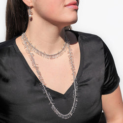 "Feather Chain 36"" Necklace in Silver"