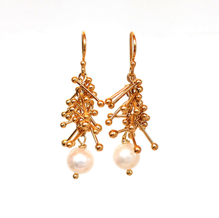 Feather Chain Earrings with Pearl in Gold