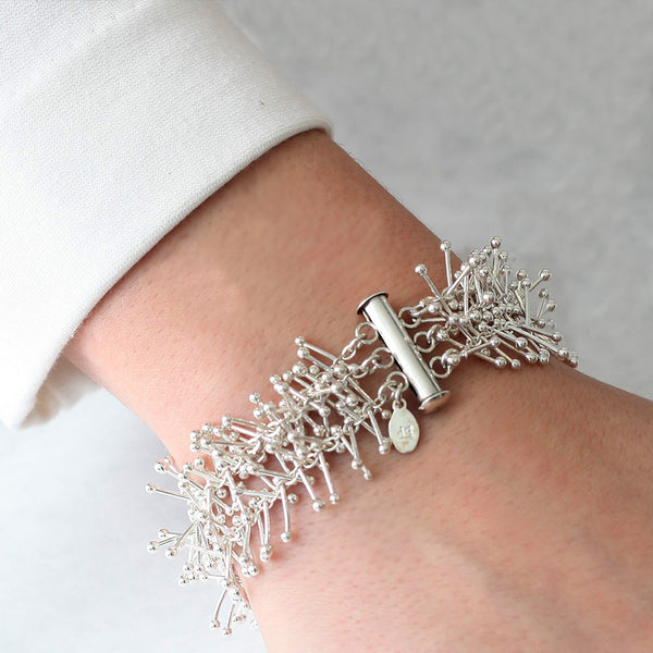 Feather Chain Triple Bracelet in Silver