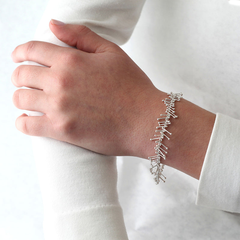 Feather Chain Bracelet in Silver