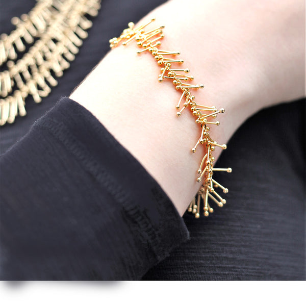 Feather Chain Bracelet in Gold