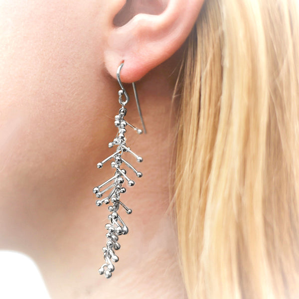 Feather Chain Earrings in Silver