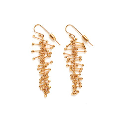 Feather Chain Earrings in Gold