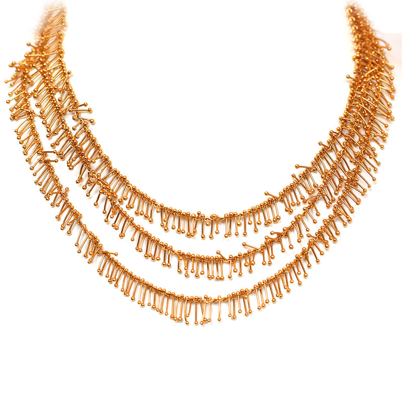 Feather Chain Triple Necklace in Gold