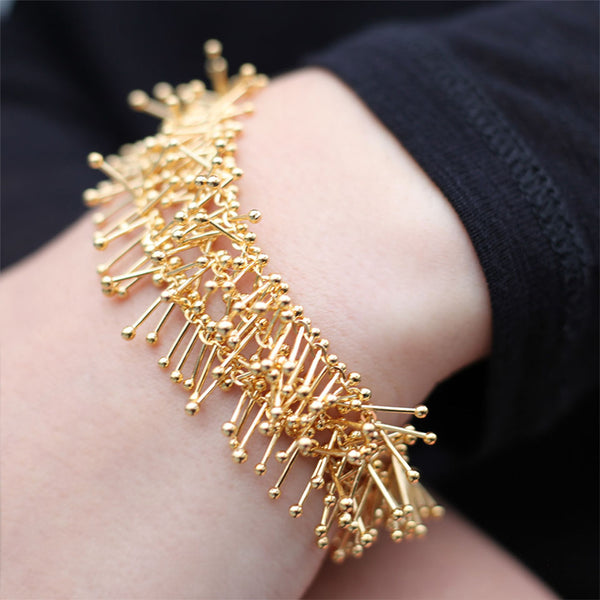 Feather Chain Triple Bracelet in Gold