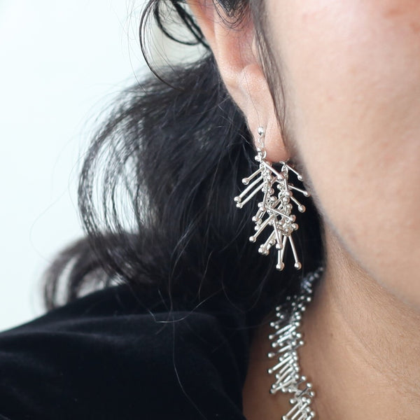 Feather Chain Hoop Earrings in Silver
