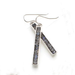 Fine Lines Earrings in Silver with Labradorite
