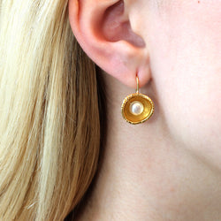 Forged Cup Earrings in Gold