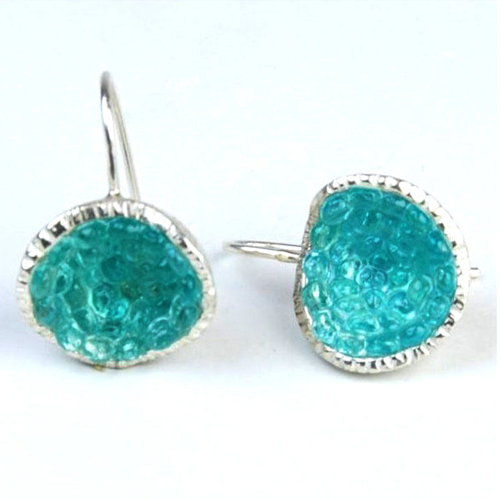 Geode Earrings in Silver: Apatite