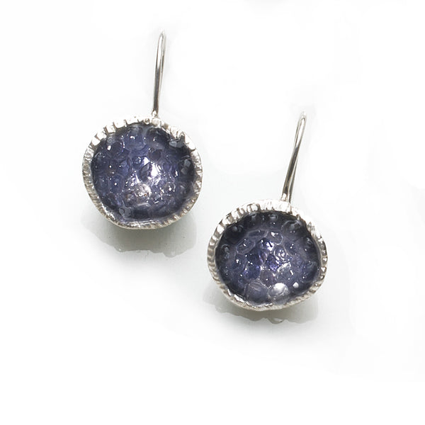 Geode Earrings in Silver: Iolite