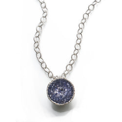 Geode Large Necklace in Silver: Iolite