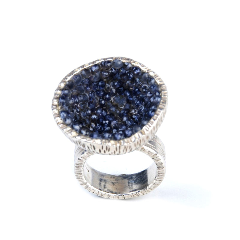 Geode Large Ring in Silver: Iolite