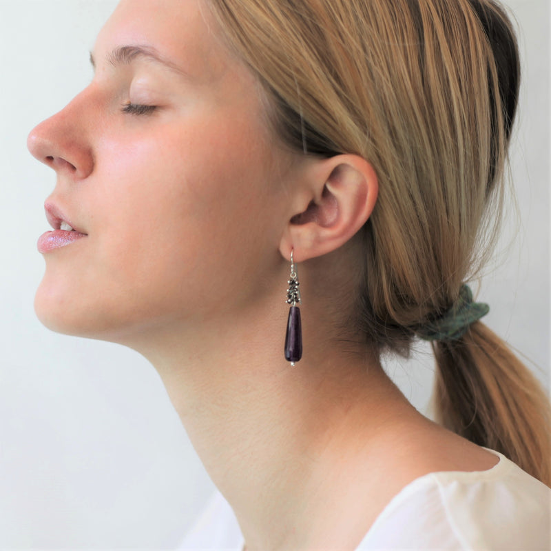 Alexis Teardrop Earrings: Plum