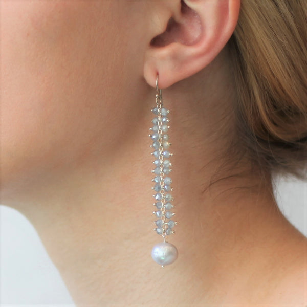 Alexis Ladder Earrings: Gray Crystal with Freshwater Silver Pearl
