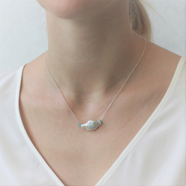 Alexis Pearl Necklace: Aqua Coin