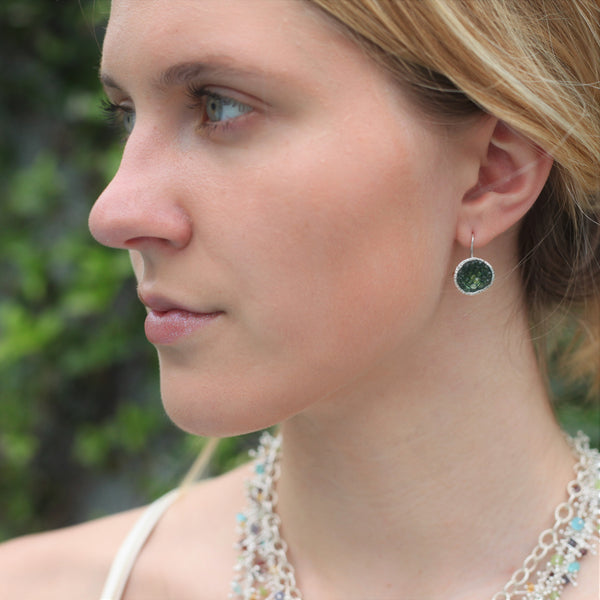 Geode Earrings in Silver: Tsavorite