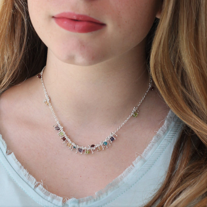 Delicate Feather Bib Necklace in Silver: Multi-Gem
