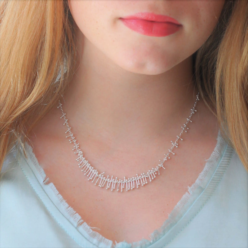 Feather Chain Bib Necklace in Silver