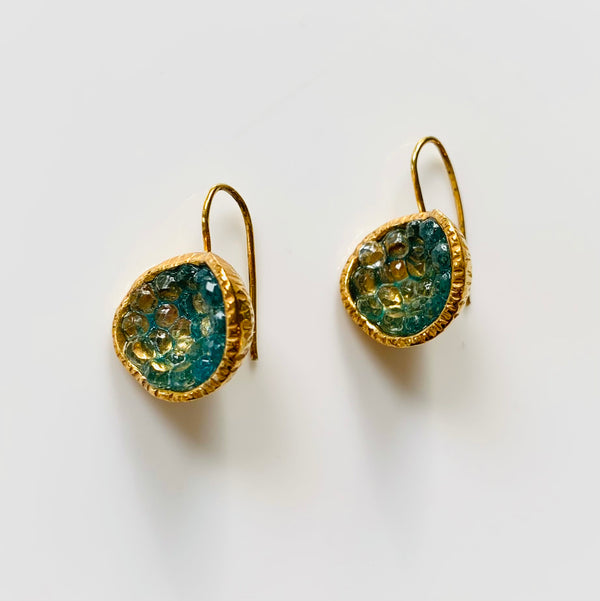 Geode Earrings in Gold: Apatite