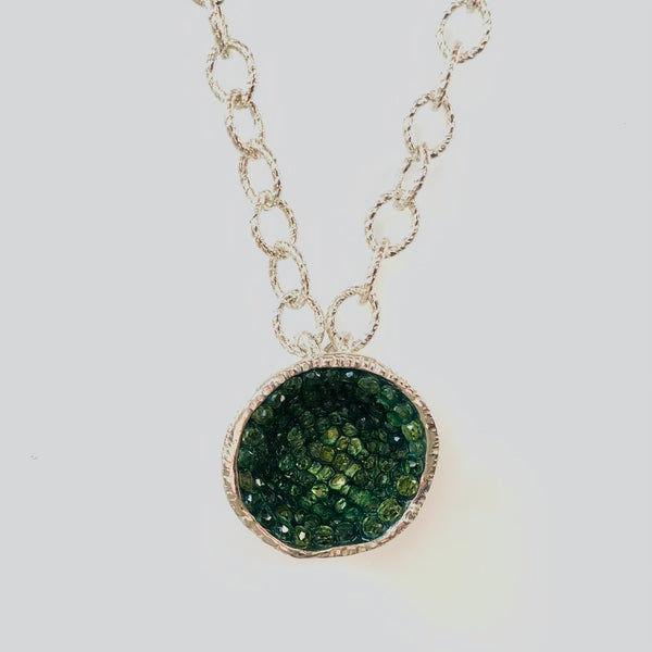Geode Large Necklace in Silver: Tsavorite