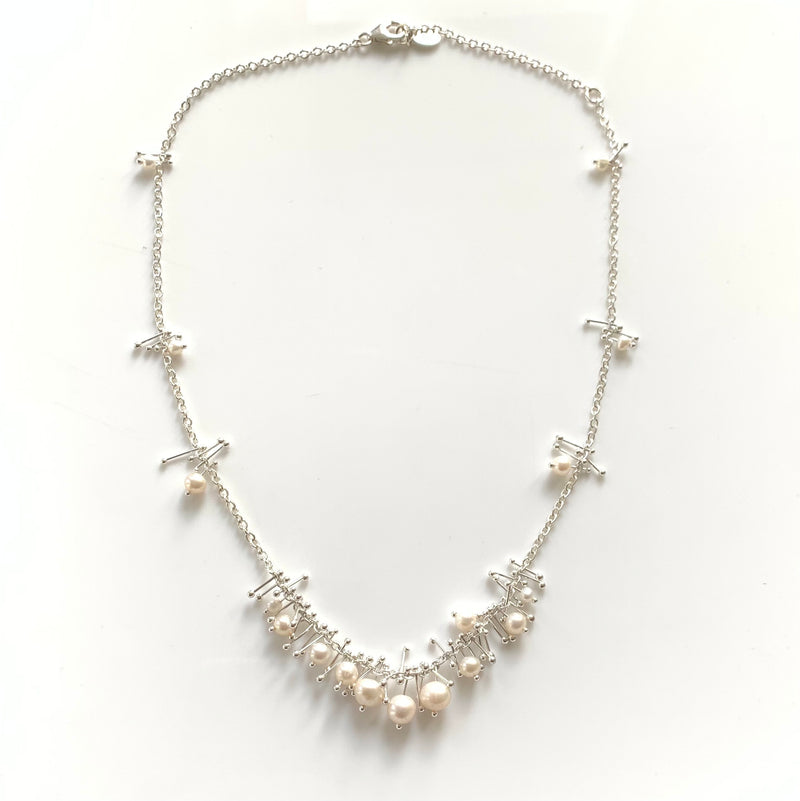 Delicate Feather Necklace in Silver: Pearl with Bib