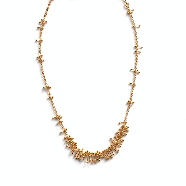 Feather Chain Bib Necklace in Gold