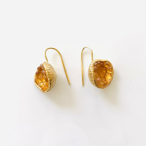 Geode Earrings in Gold: Citrine